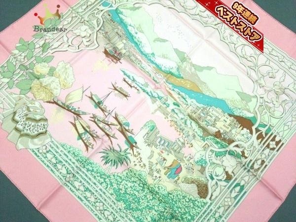 エルメス HERMES カレ ピンク×ライトグリーン×マルチ 新品同様 スカーフ