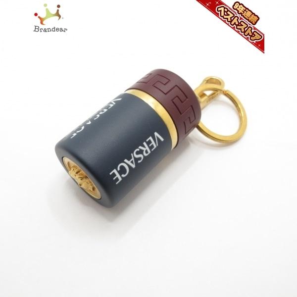 ヴェルサーチ VERSACE キーホルダー(チャーム) - プラスチック×金属素材 ネイビー×ダークブラウン×ゴールド キーホルダー