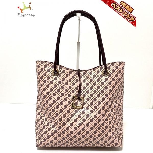ゲラルディーニ GHERARDINI トートバッグ - PVC(塩化ビニール)×レザー ピンクベージュ×ダークブラウン バッグ
