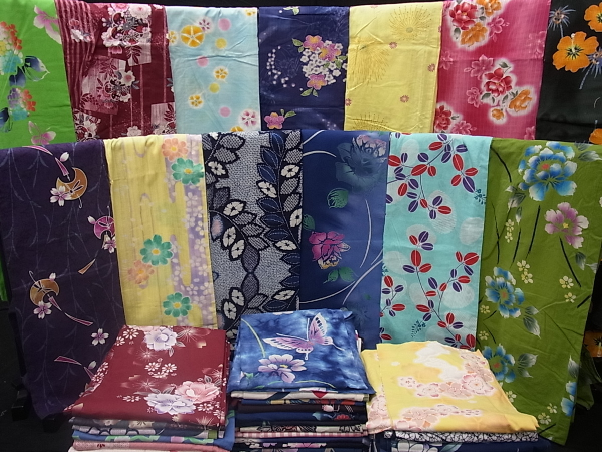花美人■送料無料 浴衣 まとめて 大量 未使用品あり 綿紅梅 着用可能多数 2k096