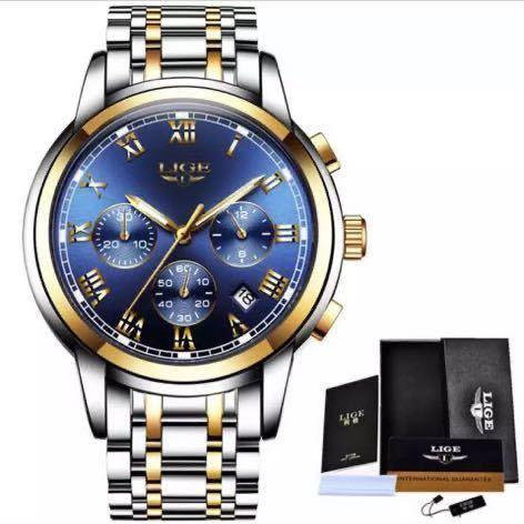 海外大人気ブランドLIGE メンズ高品質腕時計クロノグラフ 防水 耐衝撃 ステンレスバンド ブルーゴールド人気_画像6
