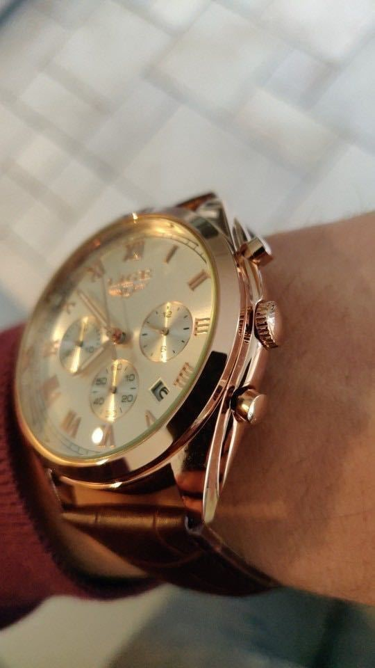 海外大人気ブランドLIGE メンズ高品質腕時計クロノグラフ 防水 耐衝撃 ステンレスバンド ブルーゴールド人気_画像2