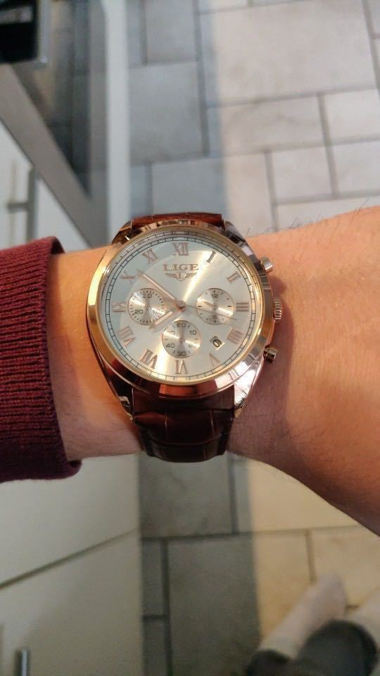海外大人気ブランドLIGE メンズ高品質腕時計クロノグラフ 防水 耐衝撃 ステンレスバンド ブルーゴールド人気_画像3