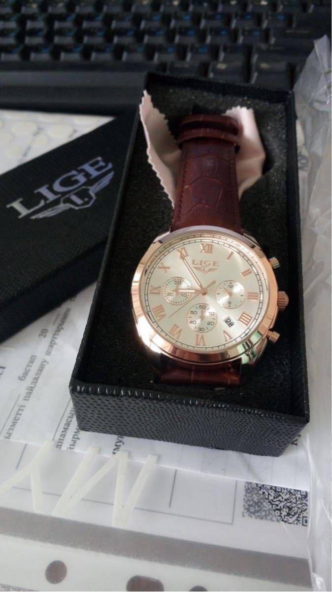 海外大人気ブランドLIGE メンズ高品質腕時計クロノグラフ 防水 耐衝撃 ステンレスバンド ブルーゴールド人気_画像5