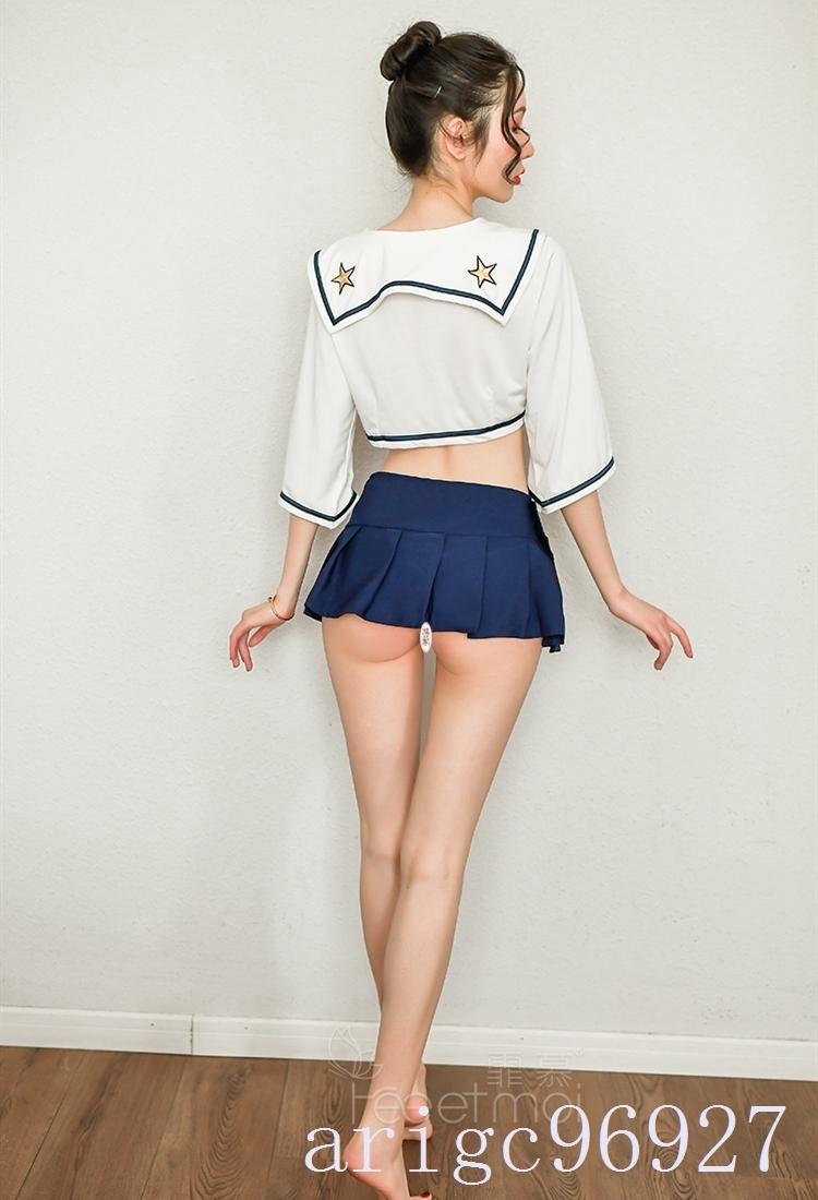 【送料無料】セクシー可愛い 学生服 セーラー服トップススカートショーツ リボンコスプレ衣装 ベビードール 制服_画像10
