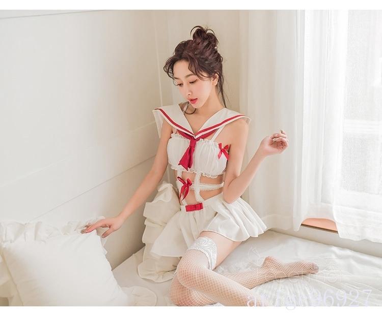 【送料無料】セクシー可愛い セーラー服風 ワンピース シフォン ベビードール ナイトウェア コスプレ衣装 学生服 制服 ホワイト_画像9