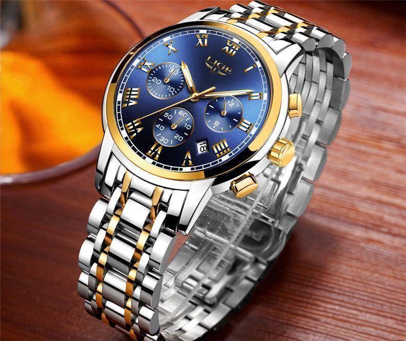 海外大人気ブランドLIGE メンズ高品質腕時計クロノグラフ 防水 耐衝撃 ステンレスバンド ブルーゴールド人気_画像1