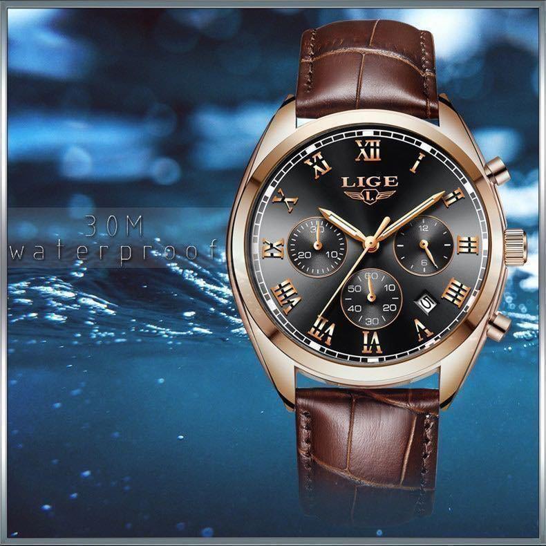 海外大人気ブランドLIGE メンズ高品質腕時計クロノグラフ 防水 耐衝撃 ステンレスバンド ブルーゴールド人気_画像8