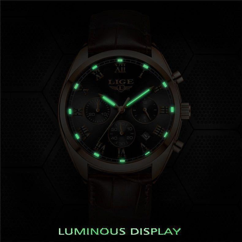 海外大人気ブランドLIGE メンズ高品質腕時計クロノグラフ 防水 耐衝撃 ステンレスバンド ブルーゴールド人気_画像9