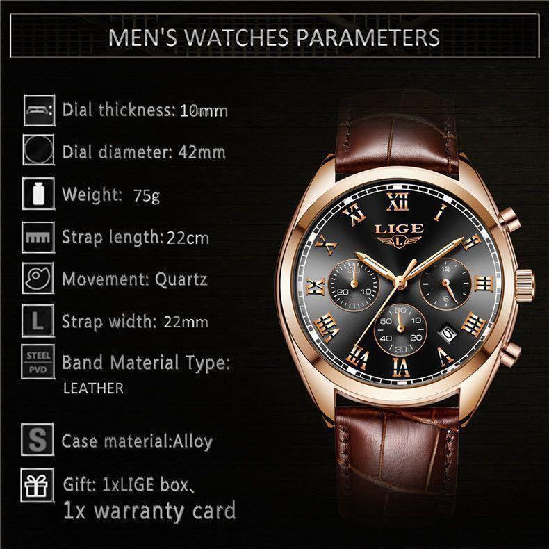 海外大人気ブランドLIGE メンズ高品質腕時計クロノグラフ 防水 耐衝撃 ステンレスバンド ブルーゴールド人気_画像7