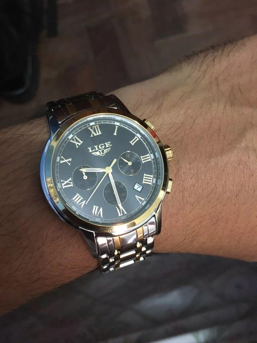 海外大人気ブランドLIGE メンズ高品質腕時計クロノグラフ 防水 耐衝撃 ステンレスバンド ブルーゴールド人気_画像10