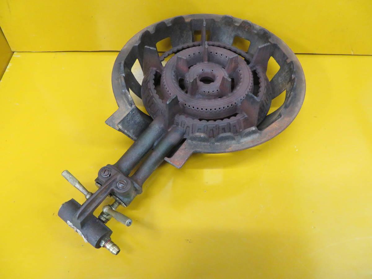 【良品】タチバナ製 TS-210H 鋳物コンロ 羽根付 2重巻バーナー ガスコンロ プロパン LP ガス G-05_画像1
