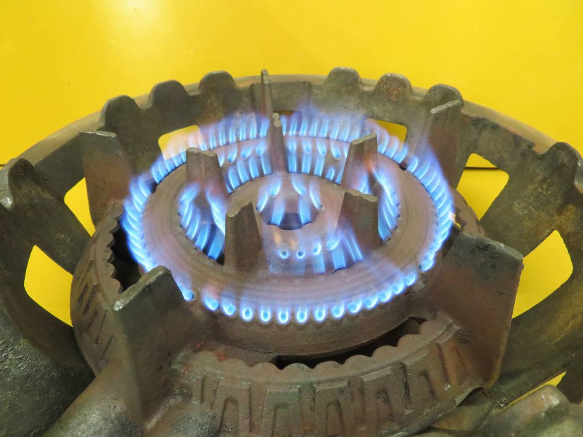 【良品】タチバナ製 TS-210H 鋳物コンロ 羽根付 2重巻バーナー ガスコンロ プロパン LP ガス G-05_画像7