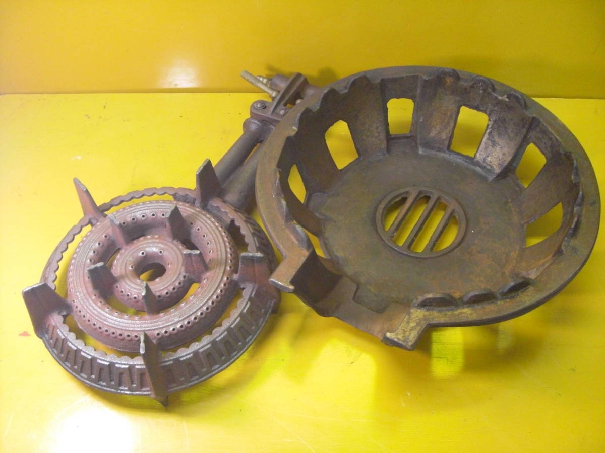 【良品】タチバナ製 TS-210H 鋳物コンロ 羽根付 2重巻バーナー ガスコンロ プロパン LP ガス G-10_画像2