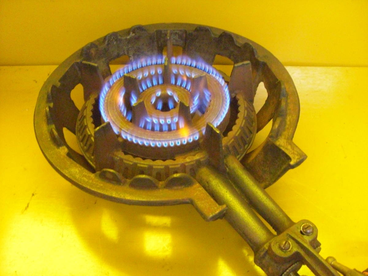【良品】タチバナ製 TS-210H 鋳物コンロ 羽根付 2重巻バーナー ガスコンロ プロパン LP ガス G-10_画像6