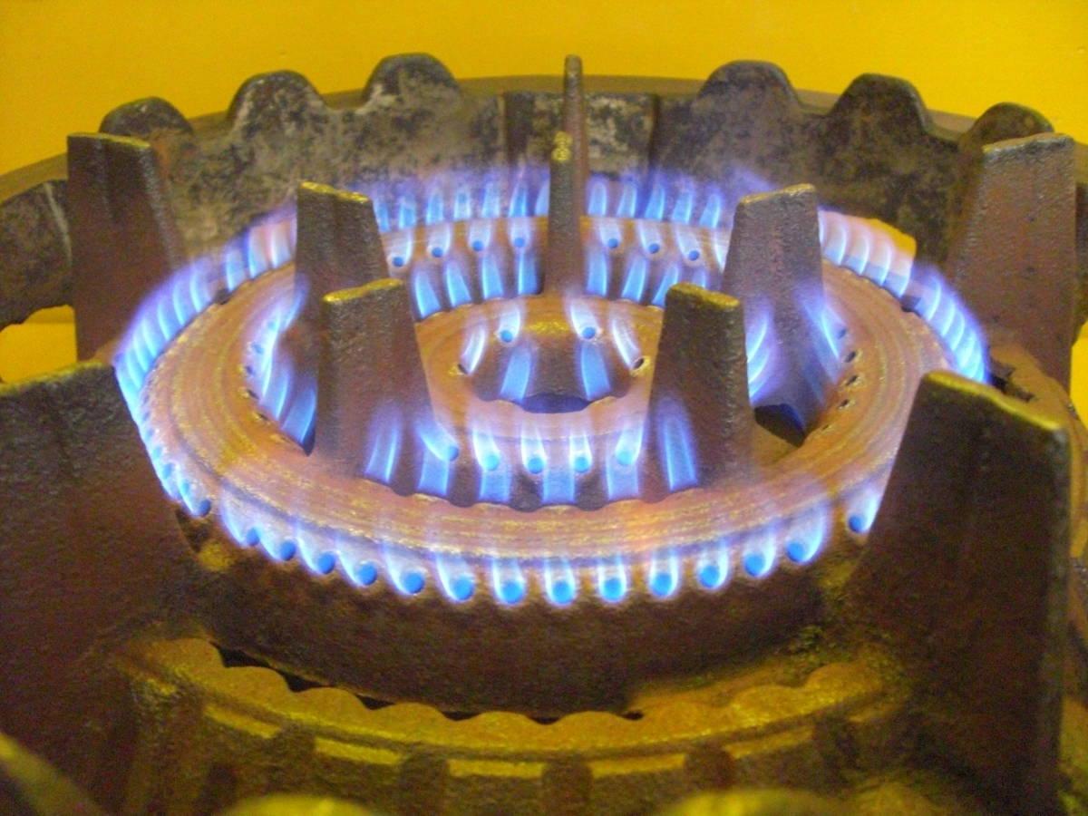 【良品】タチバナ製 TS-210H 鋳物コンロ 羽根付 2重巻バーナー ガスコンロ プロパン LP ガス G-10_画像7