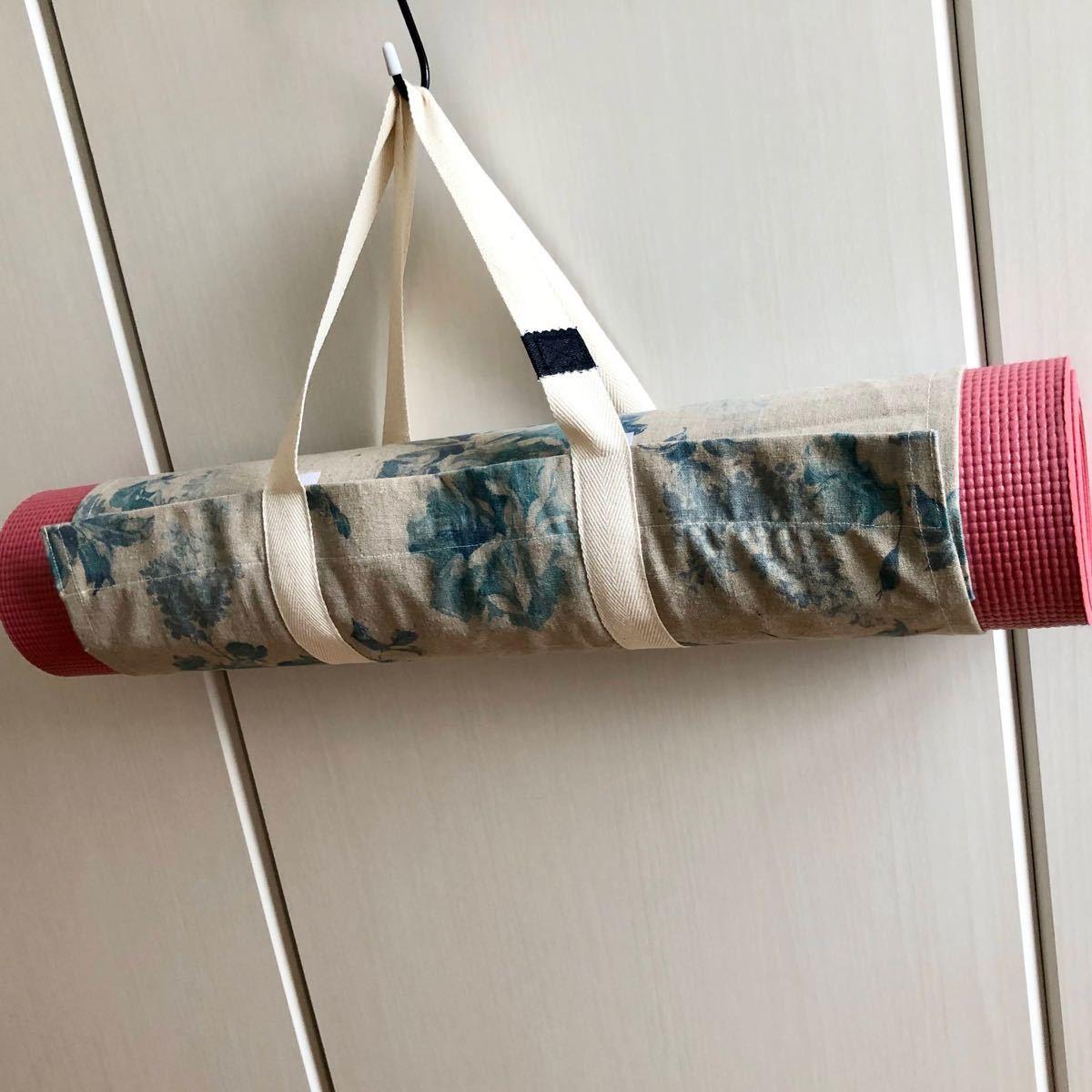 ヨガマットケース ブルーローズ×生成色 持ち手ロングタイプ