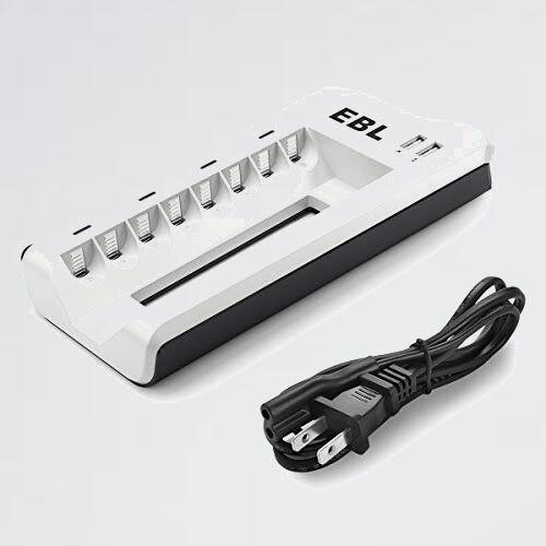 新品 未使用 電池充電器 EBL 7-KK 充電 充電池単体 8スロット単四ニッケル水素/ニカド充電池に対応 単3単4電池充電器 USB充電器_画像1