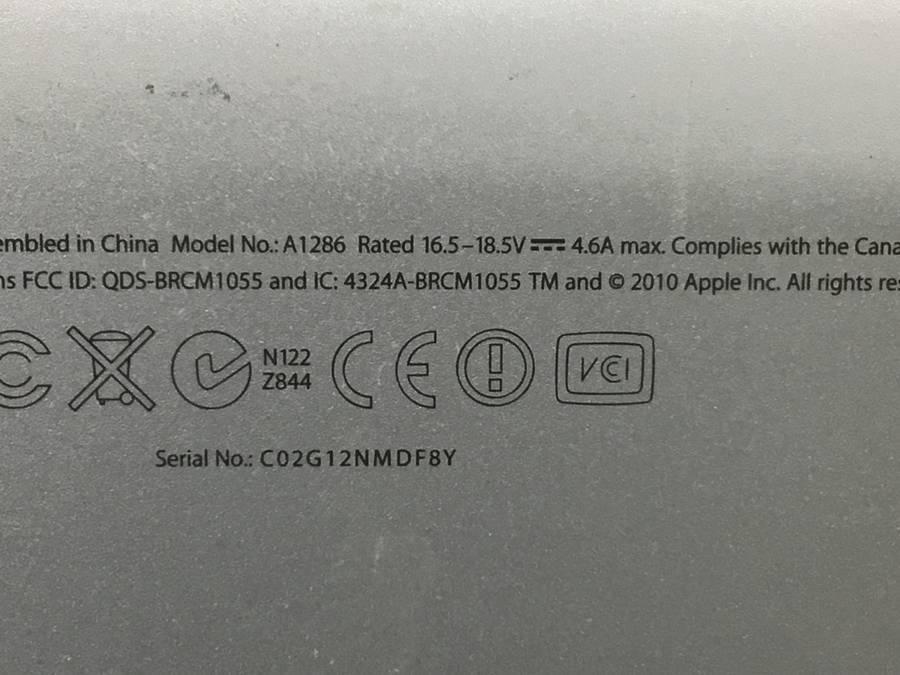 Apple MacBookPro8,2 Early2011 A1286 macOS Core i7-2635QM 2.00GHz 4 GB 320 GB HDD■現状品_画像4