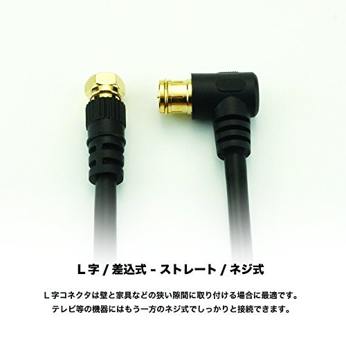 ブラック 3m HORIC アンテナケーブル S-4C-FB同軸 3.0m ブラック BS/CS/地デジ/4K8K放送対応 F型_画像4
