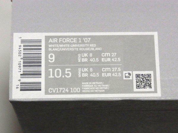 送料無料 新品 国内正規 NIKE AIR FORCE 1 LOW '07 US9 27cm ナイキ エアフォース ローカット AF1 CV1724-100 White ホワイト 白_画像10