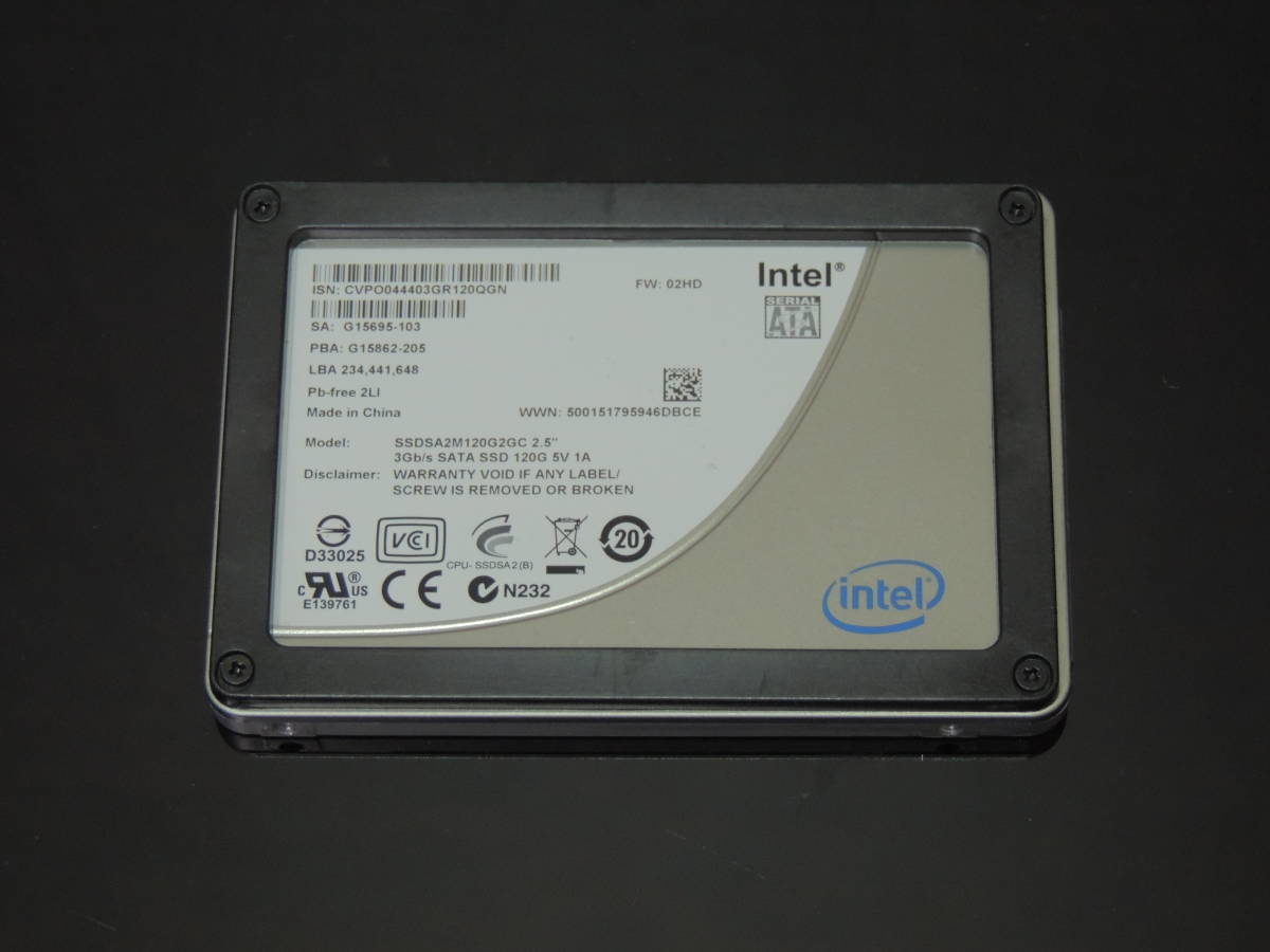 【検品済み】INTEL SSD 120GB SSDSA2M120G2GC (使用4824時間) 管理:w-45_画像1