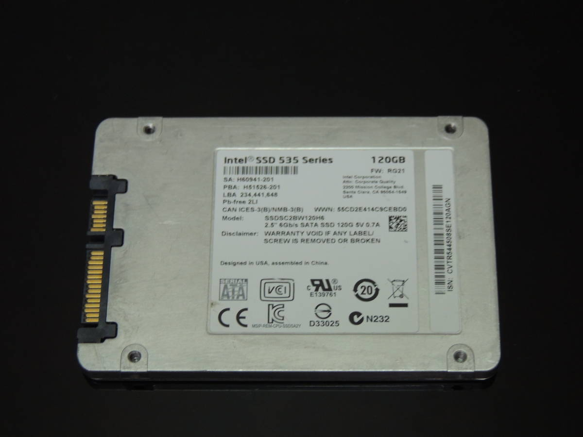 【検品済み】INTEL SSD 535series 120GB SSDSC2BW120H6 (使用3863時間) 管理:w-55_画像4