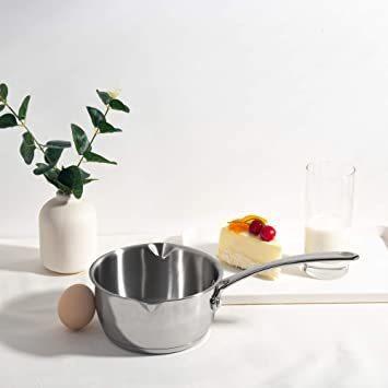新品シルバー 500ml IMEEA ミルクパン 片手鍋 18-10ステンレス ソースパン 13cm IH対応 50U6W7_画像2