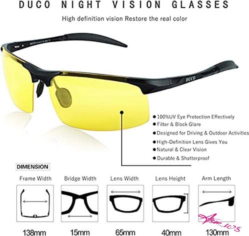 【夜間に最適】DUCO スポーツサングラス メンズ ブラックフレームイエローレンズ 偏光サングラス UV400保護 運転 ゴルフ 自転車