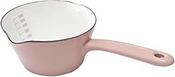 アッシュピンク 【Amazon.co.jp限定】 富士ホーロー 片手 鍋 ミルクパン 14cm 0.8L 目盛り付き アッシュピ_画像1