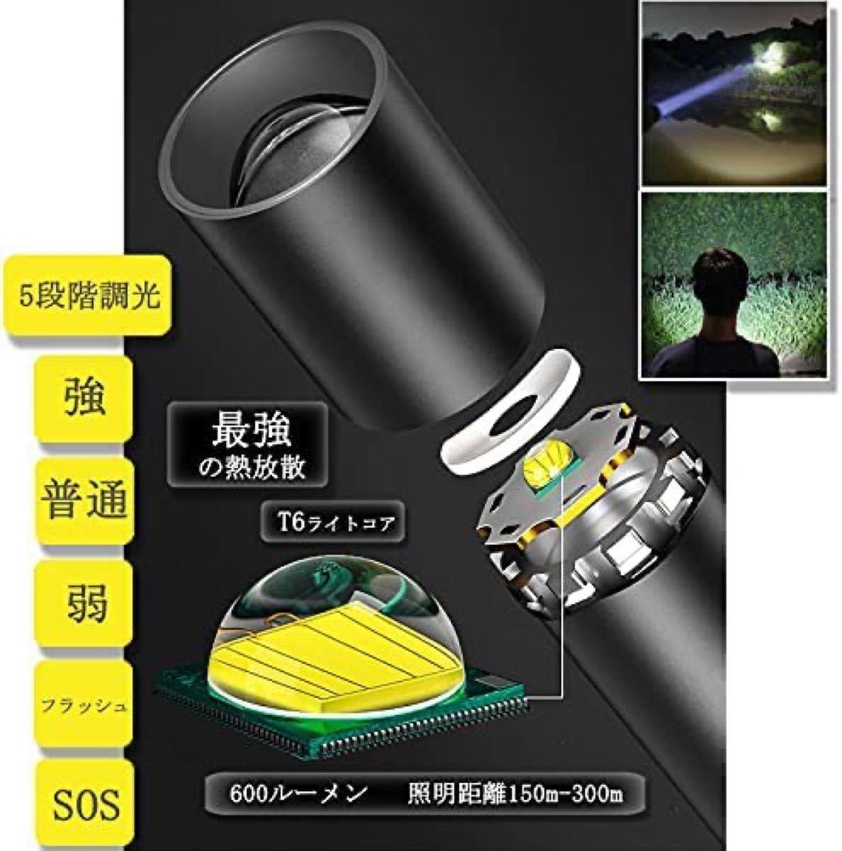 懐中電灯ledフラッシュライトハンディライト 伸縮ズーム/実用点灯8-12時間
