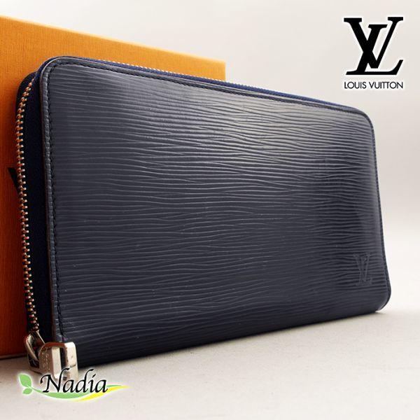 ■【使用わずか】ルイヴィトン Louis Vuitton エピ ジッピー オーガナイザー 長財布 レザー メンズ ネイビー 極美品 定価約12万