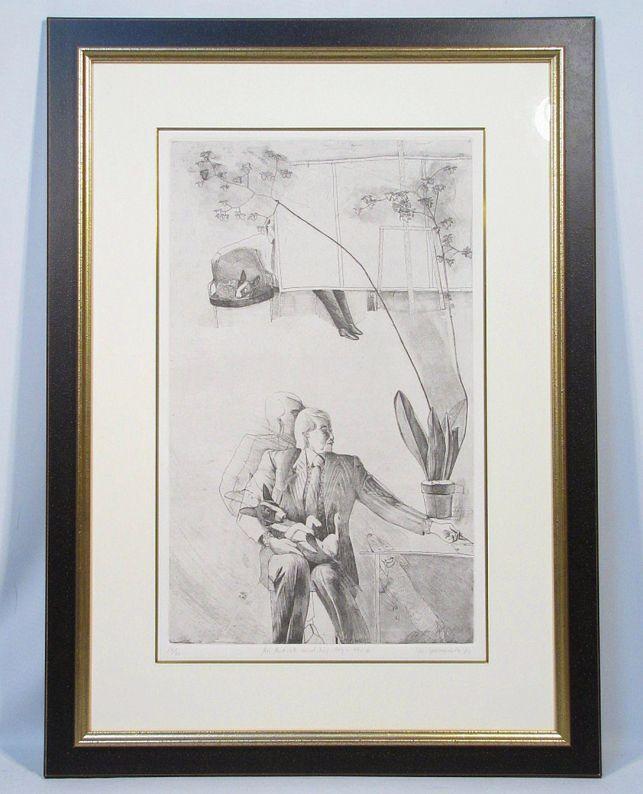 山本容子 「An Artist and his dog」 額装12号 30部限定 直筆サイン 1981年制作、少部数の貴重作品です