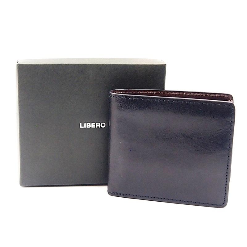 リベロ LA-002 牛革 二つ折り <財布> ブラック ブラウン 黒 折りたたみ カードケース コインケース 小銭入れ レザー メンズ LIBERO_画像1