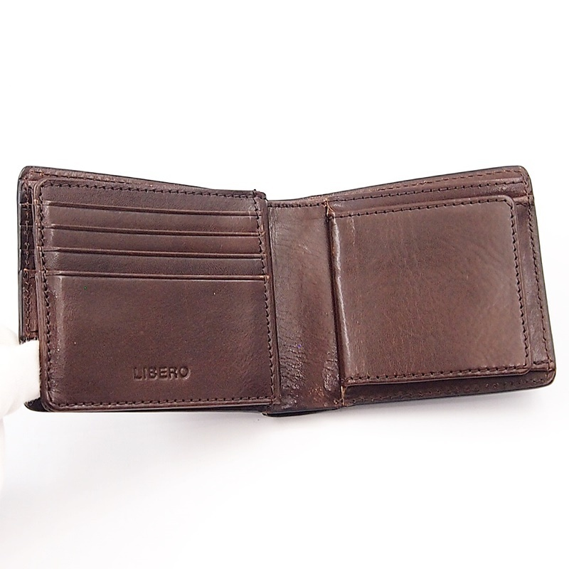 リベロ LA-002 牛革 二つ折り <財布> ブラック ブラウン 黒 折りたたみ カードケース コインケース 小銭入れ レザー メンズ LIBERO_画像6
