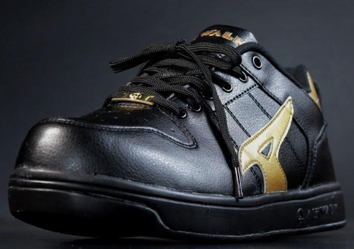 安全靴 メンズ AIRWALK エアウォーク スニーカー セーフティー シューズ 耐滑 耐油 衝撃吸収 AW-610 ブラック×ゴールド 25.0㎝ 新品_画像4