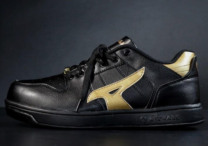 安全靴 メンズ AIRWALK エアウォーク スニーカー セーフティー シューズ 耐滑 耐油 衝撃吸収 AW-610 ブラック×ゴールド 25.0㎝ 新品_画像3