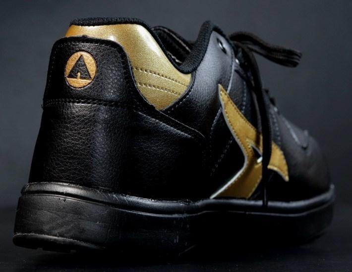 安全靴 メンズ AIRWALK エアウォーク スニーカー セーフティー シューズ 耐滑 耐油 衝撃吸収 AW-610 ブラック×ゴールド 25.0㎝ 新品_画像6