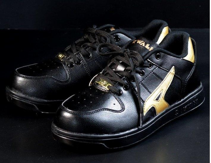 安全靴 メンズ AIRWALK エアウォーク スニーカー セーフティー シューズ 耐滑 耐油 衝撃吸収 AW-610 ブラック×ゴールド 25.0㎝ 新品_画像2