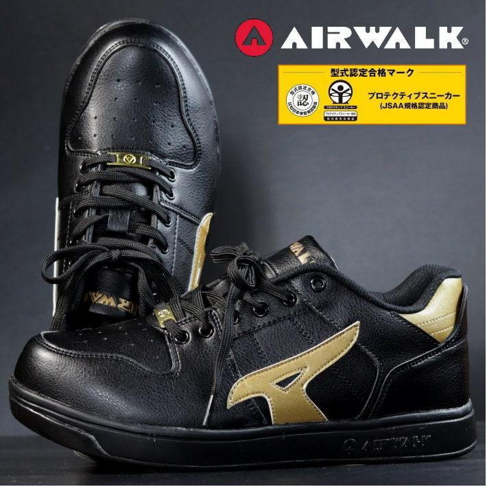 安全靴 メンズ AIRWALK エアウォーク スニーカー セーフティー シューズ 耐滑 耐油 衝撃吸収 AW-610 ブラック×ゴールド 25.0㎝ 新品_画像1