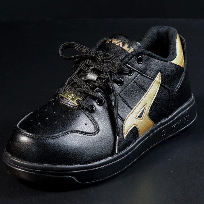 安全靴 メンズ AIRWALK エアウォーク スニーカー セーフティー シューズ 耐滑 耐油 衝撃吸収 AW-610 ブラック×ゴールド 25.0㎝ 新品_画像5