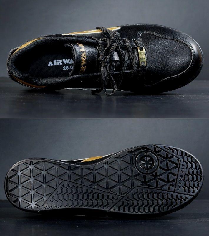 安全靴 メンズ AIRWALK エアウォーク スニーカー セーフティー シューズ 耐滑 耐油 衝撃吸収 AW-610 ブラック×ゴールド 25.0㎝ 新品_画像9