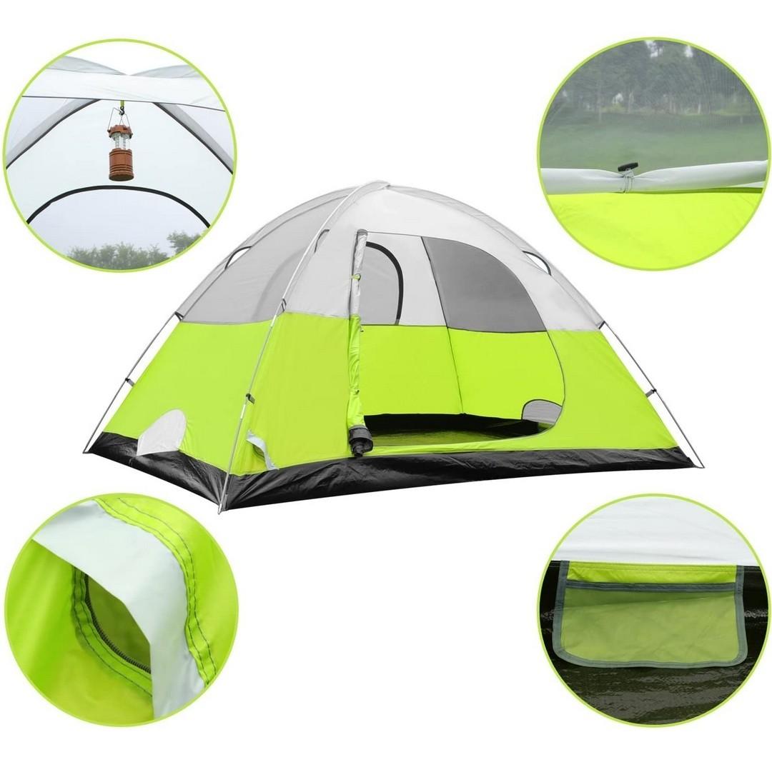 テント 4人用 アウトドア用 自立式 二重層 PU2000mm 組立簡単 キャンプテント ドームテント