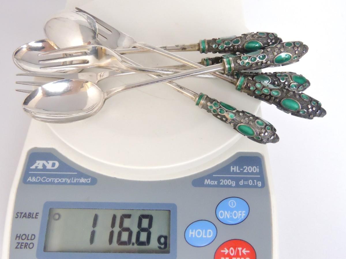 シルバー 銀製 七宝焼き ティースプーン ケーキフォーク 3組セット グリーンカラー ビンテージ レトロコレクション_画像9