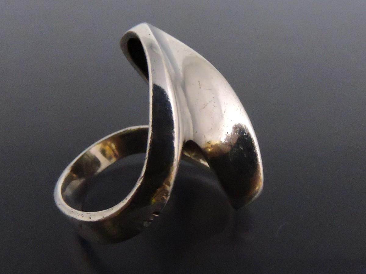 シルバー 銀製 指輪 リング ウェーブ モダンアート風 16号_画像3