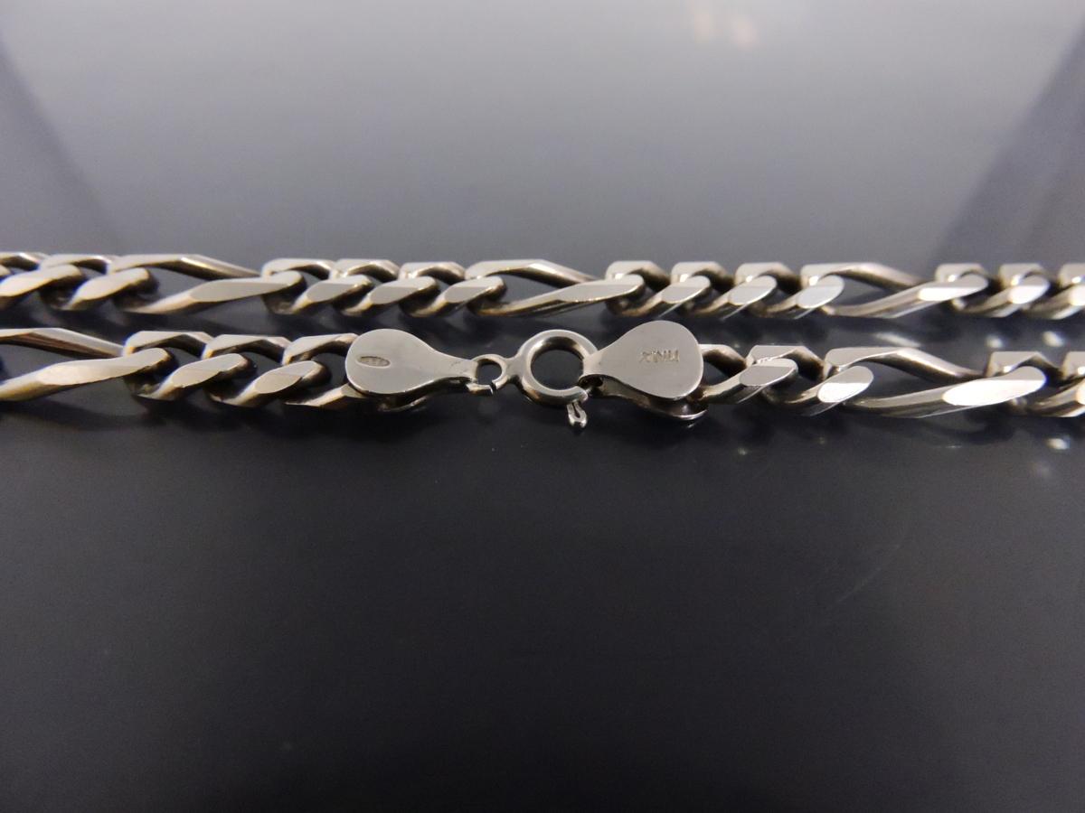 シルバー925 ネックレス 6面カット デザイン喜平チェーン 幅約7㎜ 長さ約50㎝ イタリア製_画像5