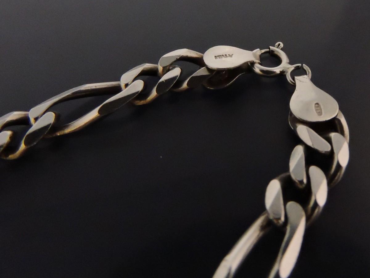 シルバー925 ネックレス 6面カット デザイン喜平チェーン 幅約7㎜ 長さ約50㎝ イタリア製_画像4