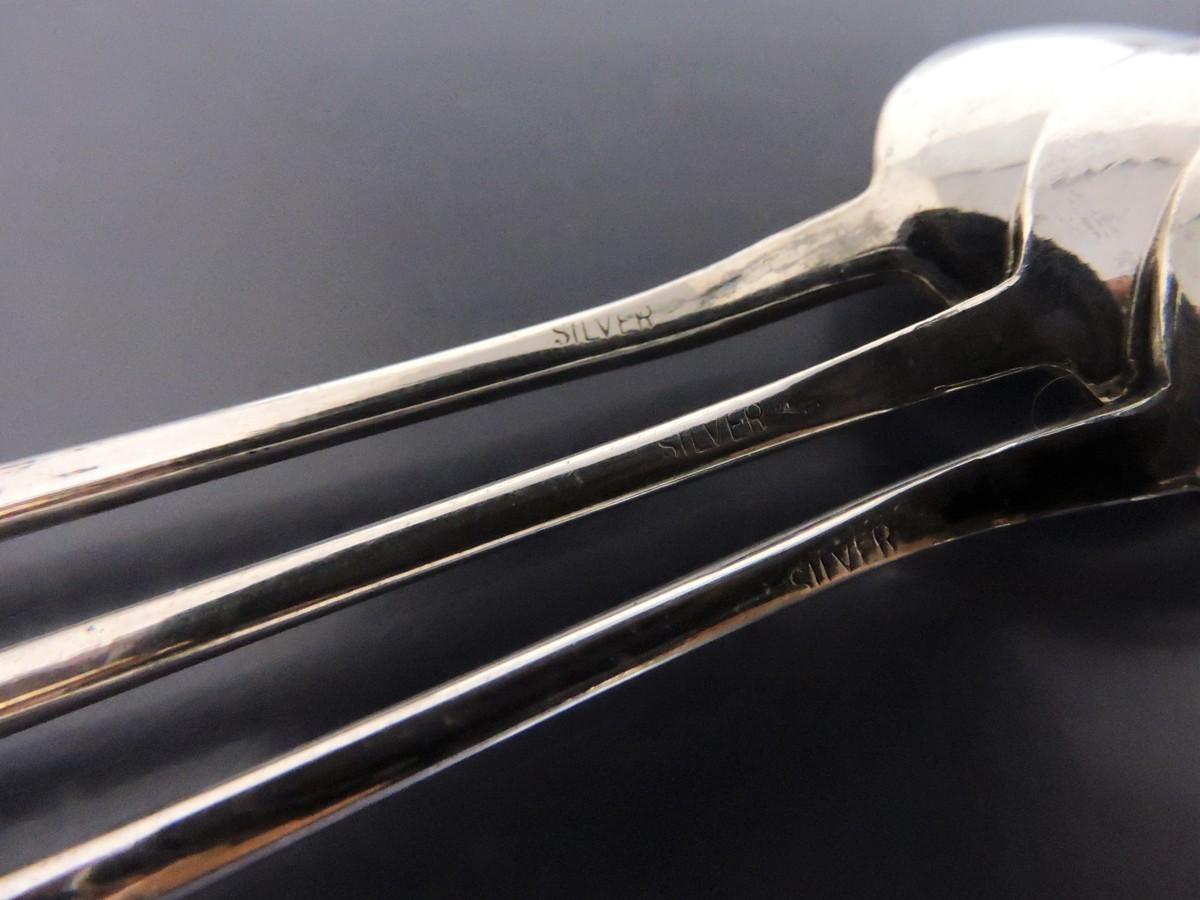 シルバー 銀製 七宝焼き ティースプーン ケーキフォーク 3組セット グリーンカラー ビンテージ レトロコレクション_画像6