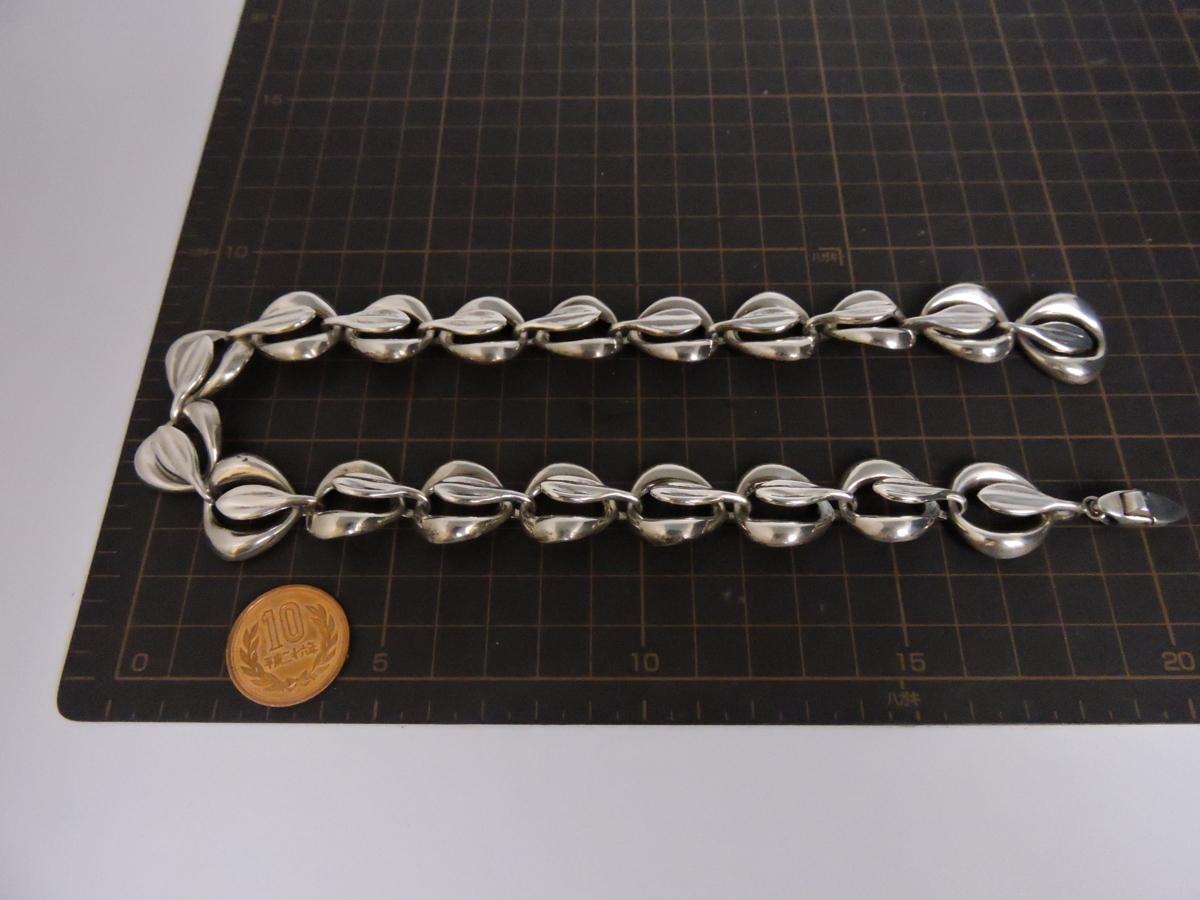 シルバー925 ネックレス チョーカー デザインチェーン モダンアート風 大ぶり 幅約2.2㎝ 長さ約43.5㎝_画像7