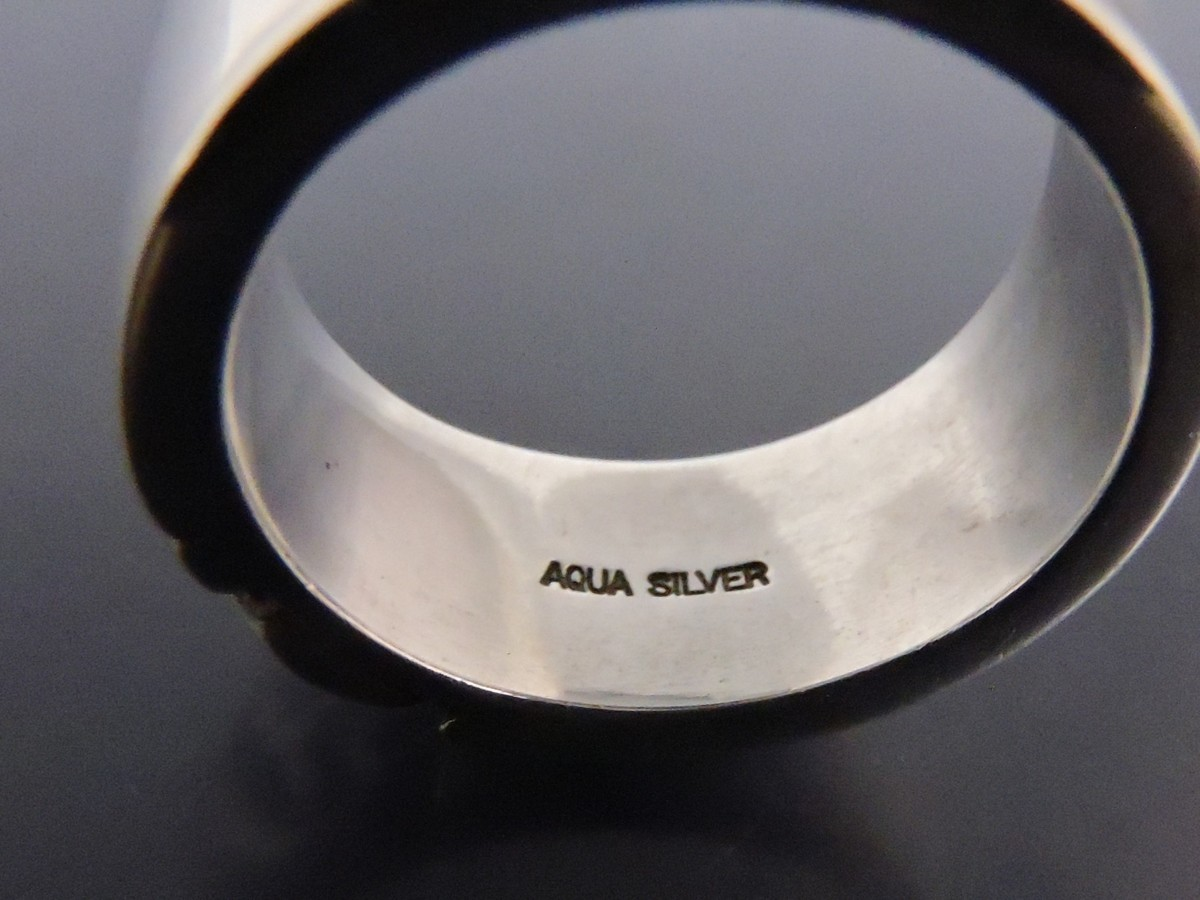 正規品 AQUA SILVER アクアシルバー 銀製 指輪 リング アラベスク 重厚 21号_画像7